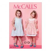 McCalls Girls Easy Sewing Pattern 7375 Sleeveless Dress, Puff Sleeve Overdress & Headband