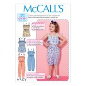 McCalls Girls Easy Learn to Sew Sewing Pattern 7376 Blouson Bodice Rompers & Jumpsuits