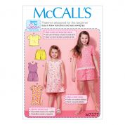 McCalls Girls Easy Learn to Sew Sewing Pattern 7377 Tops, Dresses, Romper & Shorts