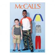 McCalls Boys Easy Sewing Pattern 7379 Raglan Sleeve & Tank Tops, Cargo Shorts & Pants