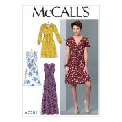 McCalls Ladies Sewing Pattern 7381 Pleated Dresses with Optional Front Tie