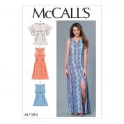 McCalls Ladies Easy Sewing Pattern 7385 Gathered, Seam Detail Tops & Dresses