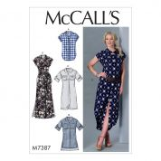 McCalls Ladies Easy Sewing Pattern 7387 Button Down Top, Tunic, Dresses & Belt