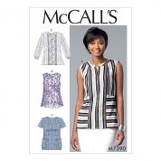 McCalls Ladies Easy Sewing Pattern 7390 Split Neck, Seam Detail Tops