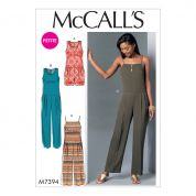 McCalls Ladies Petite Sizes Easy Sewing Pattern 7394 Sleeveless, Pleated Romper & Jumpsuits