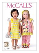 McCalls Toddlers Sewing Pattern 7400 Smocked Top, Dress & Pants with Ruffles