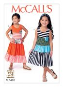 McCalls Girls Easy Sewing Pattern 7401 Tiered, Sleeveless Dresses
