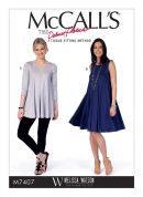 McCalls Ladies Easy Sewing Pattern 7407 Flared Knit Top & Dress