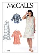 McCalls Ladies Easy Sewing Pattern 7408 Notched Tunic Tops & Dresses