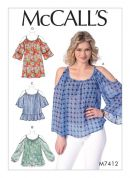 McCalls Ladies Easy Sewing Pattern 7412 Gathered, Cold Shoulder Tops & Tunic
