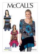 McCalls Ladies Sewing Pattern 7413 Knit Tops with Asymmetrical Hemlines