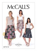 McCalls Ladies Easy Sewing Pattern 7414 Knee & Midi Length A Line Skirts