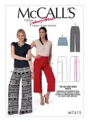 McCalls Ladies Sewing Pattern 7415 No Side Seam Shorts, Capris & Pants