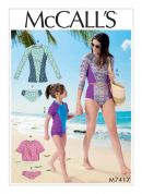 McCalls Ladies & Girls Sewing Pattern 7417 Raglan Sleeve Rash Guards & Bikini Bottoms