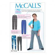 McCalls Girls Easy Learn to Sew Sewing Pattern 7426 Pull On Pants & Leggings