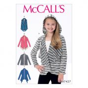 McCalls Girls Easy Sewing Pattern 7427 Shawl Collar Vest & Cardigans