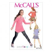McCalls Girls Easy Sewing Pattern 7428 Top, Dress, Tunic, Skirt & Leggings