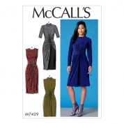 McCalls Ladies Easy Sewing Pattern 7429 Twist Front Dresses