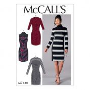 McCalls Ladies Easy Sewing Pattern 7430 Knit Side Panel Dresses with Yokes