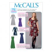 McCalls Ladies Easy Sewing Pattern 7432 Knit Dresses with V, Crew & Scoop Necklines