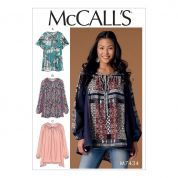 McCalls Ladies Easy Sewing Pattern 7434 Gathered, Raglan Sleeve Blouse Tops