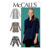 McCalls Ladies Easy Sewing Pattern 7435 Paneled Jersey Knit Tops