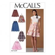 McCalls Ladies Easy Sewing Pattern 7439 Gathered & Flared Skirts with Belt