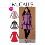 McCalls Ladies Sewing Pattern 7442 Peplum Jackets & Coats with Belt