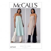 McCalls Ladies Easy Sewing Pattern 7443 Strapless, Pleated Tunic & Wide Leg Pants