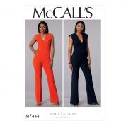 McCalls Ladies Easy Sewing Pattern 7444 Deep V Jumpsuits