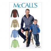McCalls Men & Boys Easy Sewing Pattern 7447 Button Down Shirts with Hood or Collar