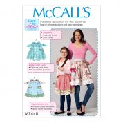 McCalls Ladies & Girls Easy Learn to Sew Sewing Pattern 7448 Gathered Half Aprons