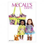 McCalls Crafts Easy Sewing Pattern 7450 Doll Clothes, Carrier & Puppy Toy