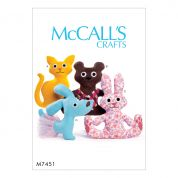 McCalls Crafts Easy Sewing Pattern 7451 Cat, Bear, Rabbit & Dog Stuffed Animal Toys
