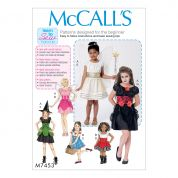 McCalls Girls Easy Learn to Sew Sewing Pattern 7453 Fairy, Witch, Pirate & Angel Costumes