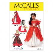 McCalls Girls Sewing Pattern 7454 Dress Up Costumes with Attached Petticoat & Cape