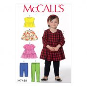 McCalls Girls Easy Sewing Pattern 7458 Gathered Tops, Dresses & Leggings
