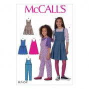 McCalls Girls Easy Sewing Pattern 7459 Pinafore Dresses & Dungaree Overalls