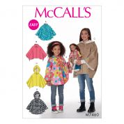 McCalls Girls & Dolls Easy Sewing Pattern 7460 Matching Ponchos with Collar or Hood