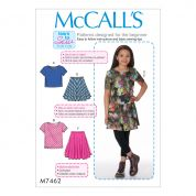 McCalls Girls Easy Learn to Sew Sewing Pattern 7462 Jersey Knit Tops & Flared Skirts