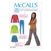 McCalls Girls Easy Learn to Sew Sewing Pattern 7463 Tops, Skirts, Leggings & Pants