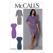 McCalls Ladies Easy Sewing Pattern 7465 Batwing & Dolman Sleeve Jersey Knit Dresses