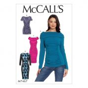 McCalls Ladies Easy Sewing Pattern 7467 Ruched & Paneled Top, Tunic & Dresses