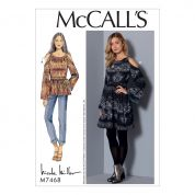 McCalls Ladies Sewing Pattern 7468 Cold Shoulder Tunic Top & Dress