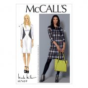 McCalls Ladies Sewing Pattern 7469 Seamed Dresses with Front Hemline Slit & In Seam Pockets