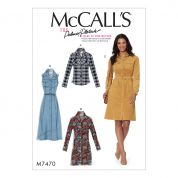 McCalls Ladies Sewing Pattern 7470 Button Down Shirt & Shirtdresses with Belt