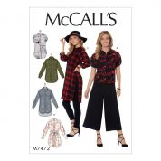 McCalls Ladies Easy Sewing Pattern 7472 Raglan Sleeve  Button Down Shirts & Tunics