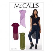 McCalls Ladies Easy Sewing Pattern 7473 V Neck, High Low Hem Tunic Tops