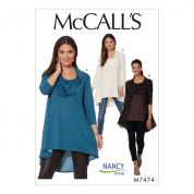 McCalls Ladies Easy Sewing Pattern 7474 Jersey Knit Cowl Neck Tunic Tops