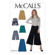 McCalls Ladies Easy Sewing Pattern 7475 Flared Skirts, Shorts & Culottes